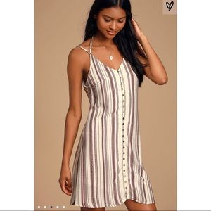 Lulus Striped Front-Button Up Shift Dress